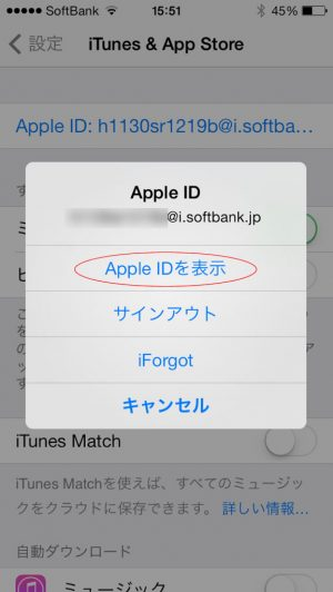iphone設定 appleID表示